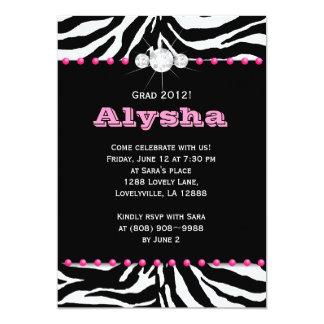 Abschluss-Party laden Zebra-rosa Schmuck-Weiß ein 12,7 X 17,8 Cm Einladungskarte