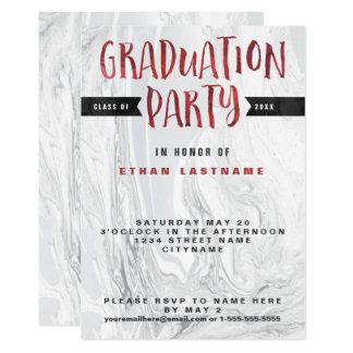 Abschluss-Party-MarmorWatercolor 12,7 X 17,8 Cm Einladungskarte