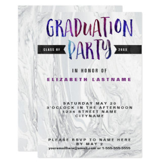 Abschluss-Party-MarmorWatercolor Karte