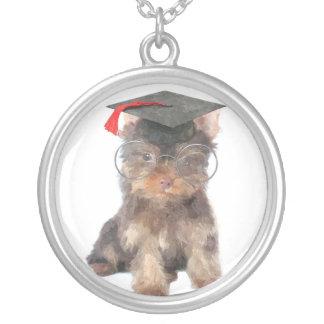 Abschluss-Yorkshire-Terrier Halskette Mit Rundem Anhänger
