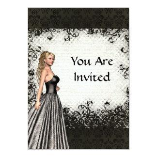 Abschlussballmädchen in einem schwarzen Kleid 12,7 X 17,8 Cm Einladungskarte