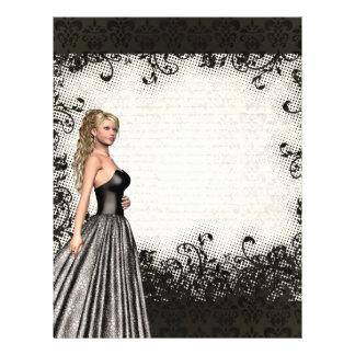 Abschlussballmädchen in einem schwarzen Kleid 21,6 X 27,9 Cm Flyer