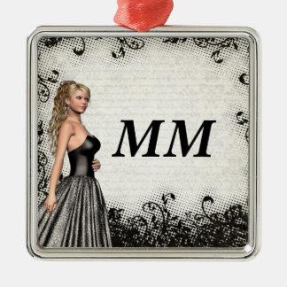Abschlussballmädchen in einem schwarzen Kleid Quadratisches Silberfarbenes Ornament