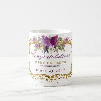 Abschlusswatercolor-Glitter-Blumen-GoldConfetti Kaffeetasse