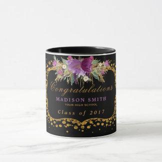Abschlusswatercolor-Glitter-Blumen-GoldConfetti Tasse