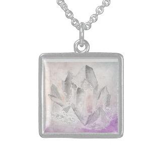 *~* Absichts-Amethyst heilende Kristallenergie Halskette Mit Quadratischem Anhänger