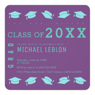 Absolvent/Abschluss-Party lila Quadratische 13,3 Cm Einladungskarte
