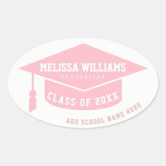 Absolvent/Absolvent/Abschluss blaß - Rosa Ovaler Aufkleber