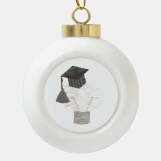 Absolvent-Birnen-Flitter Keramik Kugel-Ornament