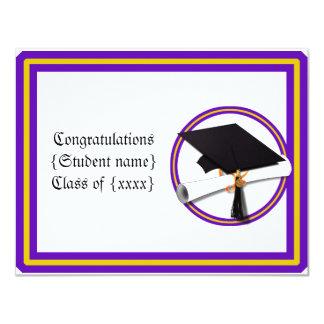 Absolvent-Diplom-Schule färbt lila und Gold Karte