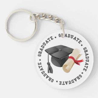 Absolvent-Hut- und Grad-Fotoschlüsselring Schlüsselanhänger