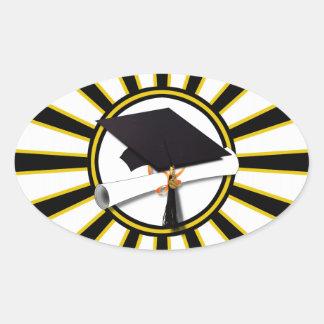 Absolvent-Kappe u Diplom mit Schulfarbschwarzem Ovaler Aufkleber