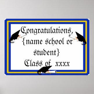 Absolvent-Kappen-Neigung mit Schule färbt Blau und Poster