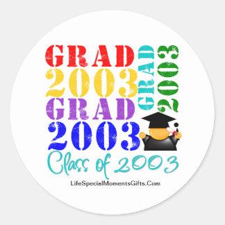 Absolvent-Klasse von 2003 Runde Aufkleber