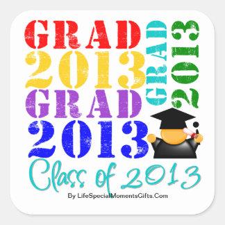 Absolvent-Klasse von 2013 Quadratischer Aufkleber