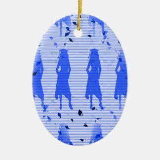 Absolvent-Mädchen-blauer gestreifter Strudel Ovales Keramik Ornament