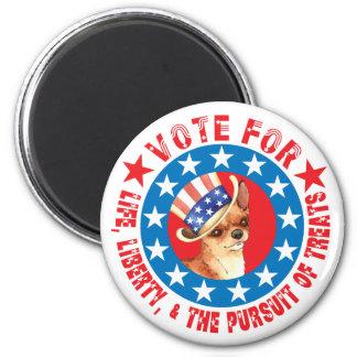 Abstimmung für Chihuahua Runder Magnet 5,7 Cm