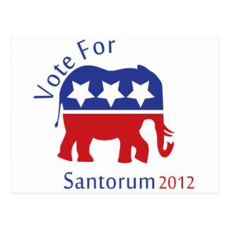 Abstimmung für Rick Santorum für Präsidenten 2012 Postkarte