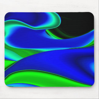Abstract green blue and black mousepad