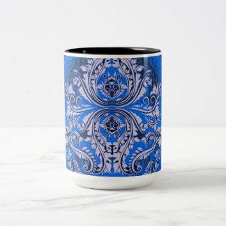 Abstrakt-Entwurf-Bandanna-Blau (c) Unisex Zweifarbige Tasse