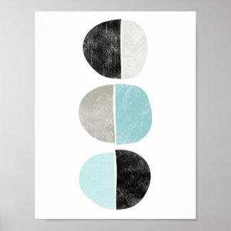 Abstrakt, geometrisch, Halbkreisplakat in Poster