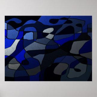 Abstrakt in den Schatten des Blaus Poster