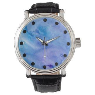 Abstrakt Nass-auf nasser Watercolor-Uhr Uhr