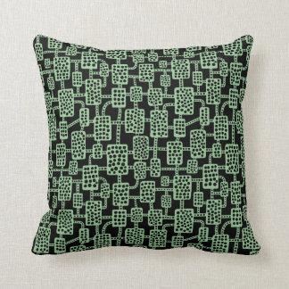 Abstrakte 041113 - Verblaßtes Grün auf Schwarzem Kissen