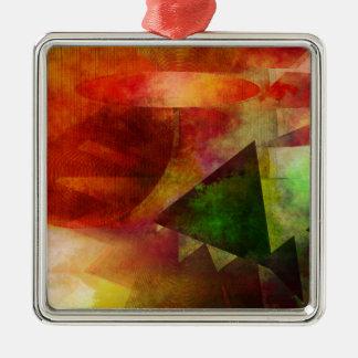 abstrakte 2017001 quadratisches silberfarbenes ornament