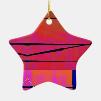 abstrakte 2 lineare mutige orange rosa und Blau Keramik Ornament