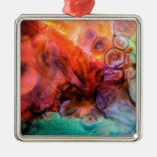 Abstrakte Bio Farbspritzenmalerei Quadratisches Silberfarbenes Ornament