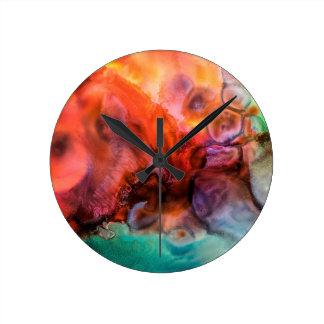 Abstrakte Bio Farbspritzenmalerei Runde Wanduhr