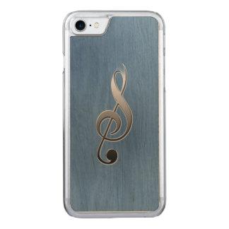 Abstrakte blaue hölzerne Kornmusik Clefanmerkung Carved iPhone 8/7 Hülle