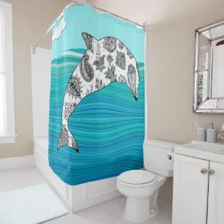 abstrakte blaue Ozeanwellen mehndi Delphine weiß Duschvorhang