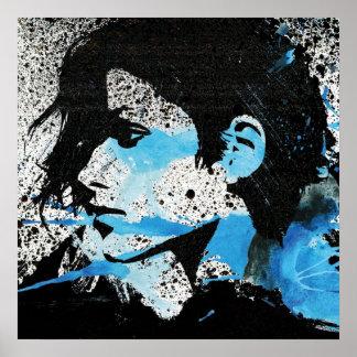 Abstrakte blaue Schwarz-weiße Mädchenwatercolor-Ku Poster