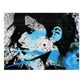 Abstrakte blaue Schwarz-weiße Postkarte