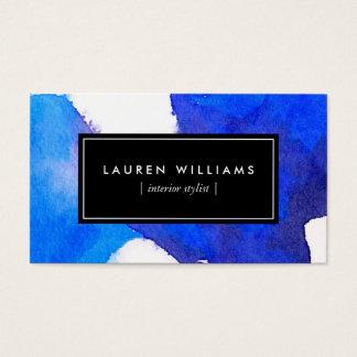 Abstrakte blaue Watercolor-Geschäfts-Karte Visitenkarte