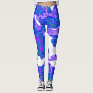 Abstrakte blaue, weiße, lila Gamaschen Leggings
