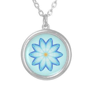 Abstrakte blauer Lotos-Blumen-Malerei-Halsketten Versilberte Kette