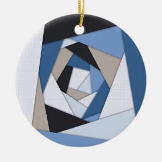 Abstrakte Blues-geometrische Schichten Keramik Ornament