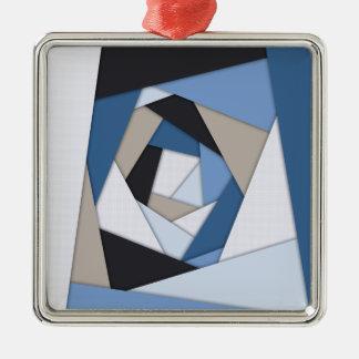 Abstrakte Blues-geometrische Schichten Silbernes Ornament