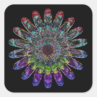 Abstrakte Blume Quadratischer Aufkleber