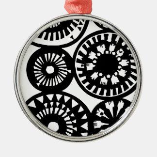 Abstrakte Blume Rundes Silberfarbenes Ornament