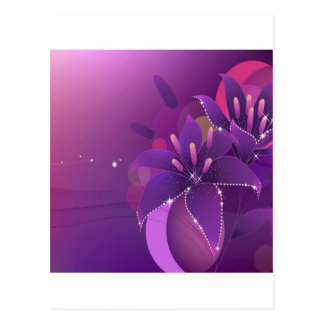 Abstrakte Blumen-lila Lilien Postkarte