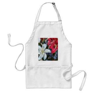 Abstrakte Blumendruck-Lilien und Orchideen Schürze