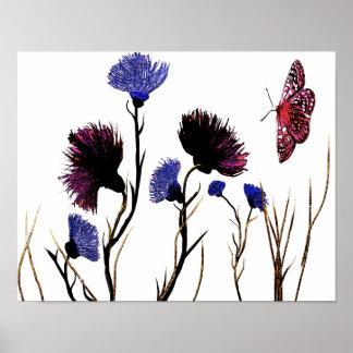 Abstrakte BlumenLeinwand Poster