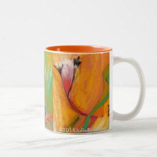 Abstrakte bunte Blumen-TASSE Zweifarbige Tasse