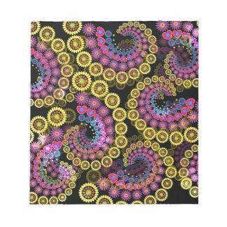 Abstrakte bunte Blumenspiralen Notizblock