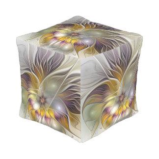 Abstrakte bunte Fantasie-Blumen-modernes Fraktal Kubus Sitzpuff