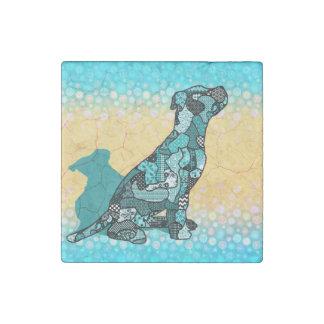 Abstrakte Collage Domingo der Hund ID106 Stein-Magnet